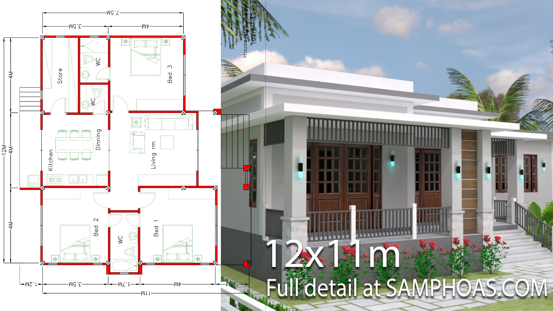 House Plans 12x11m with 3 Bedrooms - House Plans Free Downloads