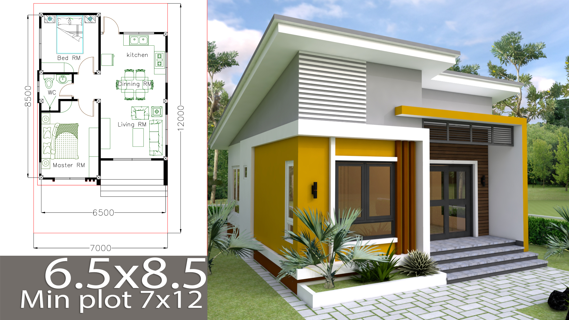 House Plans 6 5x8 5m With 2 Bedrooms House Plans Free Downloads