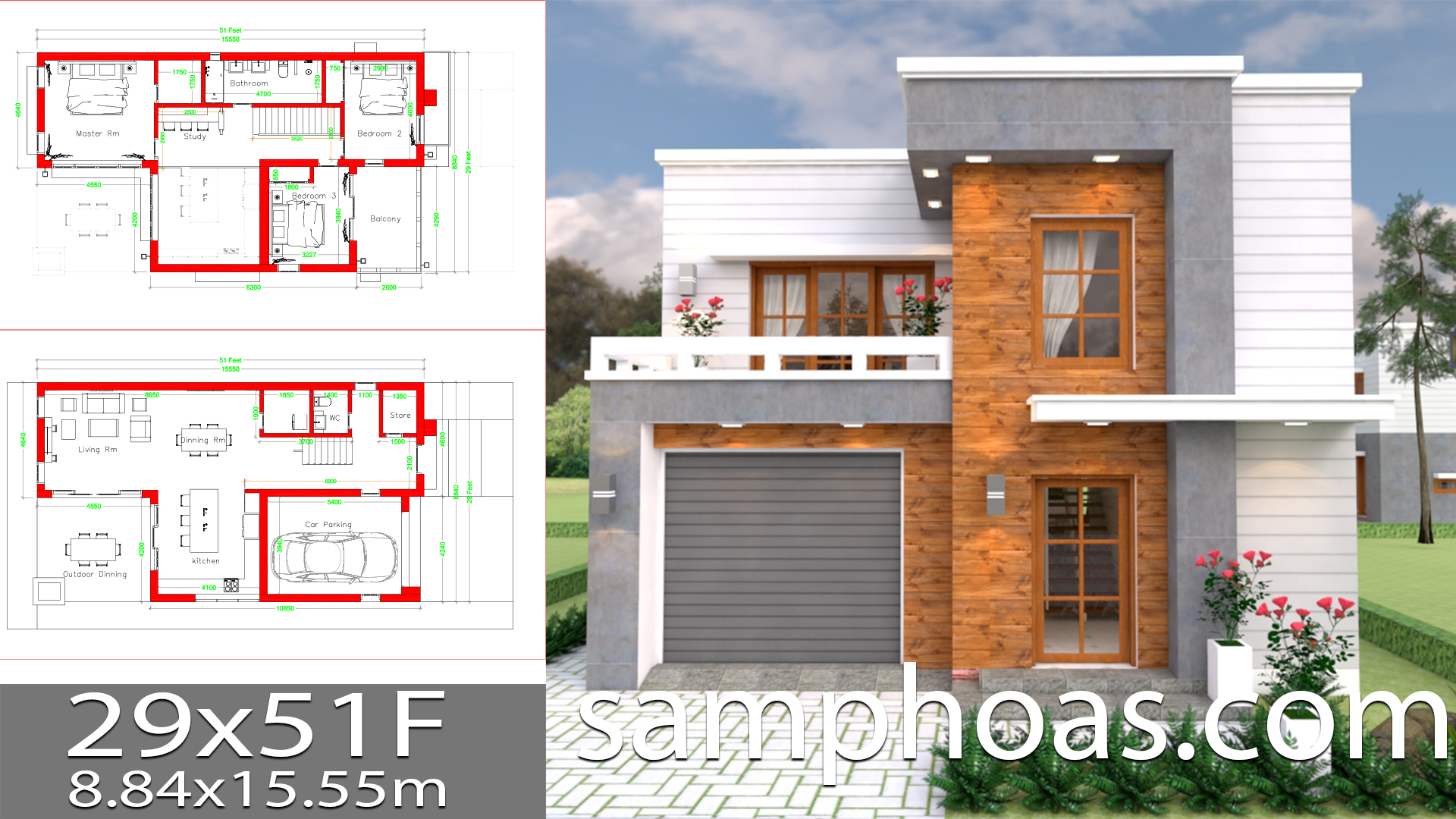 House Design Plans 29x51 Feet with 3 bedrooms - House Plans Free ...