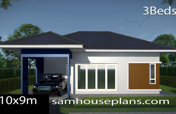 House Plans Idea 10×9 with 3 Bedrooms