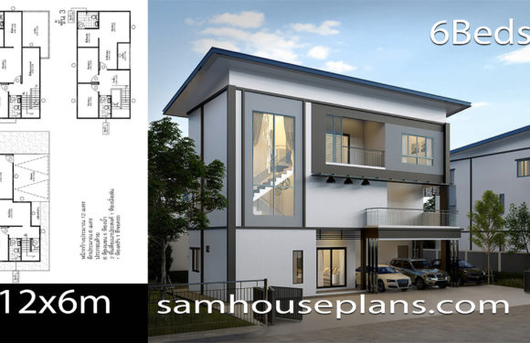 House Plans Idea 12×6 with 6 Bedrooms