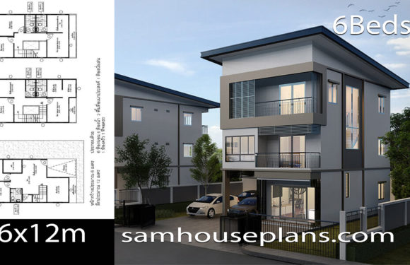 House Plans Idea 6×12 with 6 Bedrooms