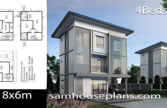 House Plans Idea 8×6 with 4 Bedrooms