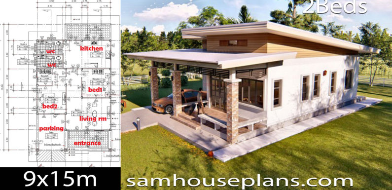 House Plans Idea 9×15 with 2 Bedrooms